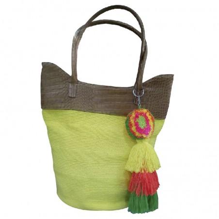 Bolso Wayuu Unicolor con Cuero